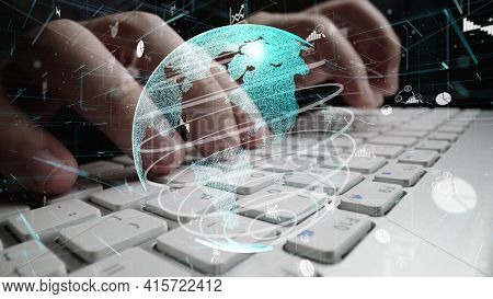 Man Working On Computer With Graphic Of Business Data Analytic Modernization Showing Concept Of Stat