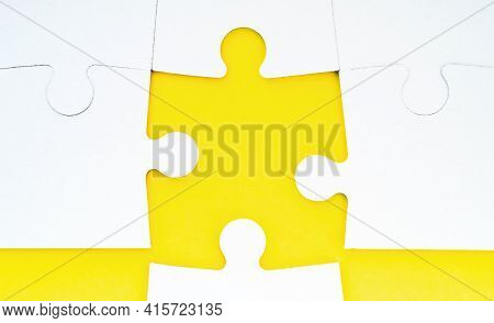Abstract Conceptual Background With Incomplete Jigsaw Puzzle. Symbol Of Association And Connection,