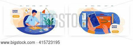 Mobile Phone Repair Landing Page Design, Website Banner Vector Template. Technician Repairing Cell P