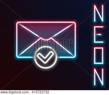 Glowing Neon Line Envelope And Check Mark Icon Isolated On Black Background. Successful E-mail Deliv
