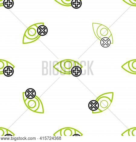 Line Red Eye Effect Icon Isolated Seamless Pattern On White Background. Eye Redness Sign. Inflammato