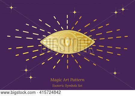 Esoteric Symbol Of Opening Of Third Eye Of Soul, Sun, Stars. Illustration Of Magic Session, Look Int