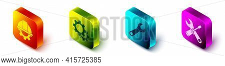 Set Isometric Worker Safety Helmet And Gear, Gear, Wrench Spanner And Screwdriver And Wrench Spanner