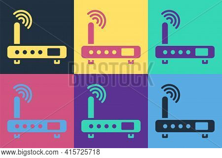 Pop Art Router And Wi-fi Signal Icon Isolated On Color Background. Wireless Ethernet Modem Router. C