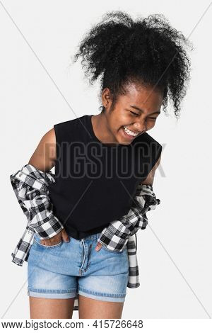 Girl's black tank top with flannel shirt teen's apparel with design space