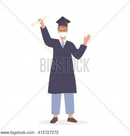 Happy Caucasian Student Wearing Face Mask And Celebrating Graduation Holding Diploma. Smiling Academ