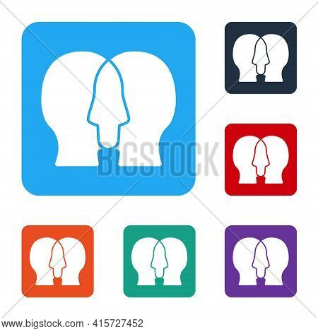White Bipolar Disorder Icon Isolated On White Background. Set Icons In Color Square Buttons. Vector