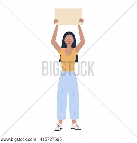 Full Height Modern Asian Girl Holding Empty Placard Isolated On White Background. Trendy Young Woman