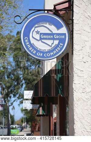 March 31, 2021 Garden Grove, California - USA: Garden Grove Chamber of Commerce building and Sign. Editorial Use Only.