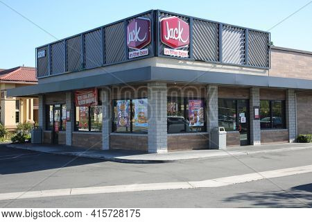 March 31, 2021 Anaheim, California - USA: Jack In The Box restaurant. Exterior view of a Jack In The Box Restaurant. Editorial use only.
