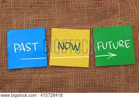 Past Now Future, Text Words Typography Written On Paper, Life And Business Motivational Inspirationa