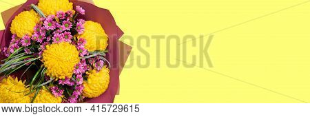 Banner With Lush Bouquet On Yellow Background With Copy Space, Empty Text Place. Gift Flower Shop Ce