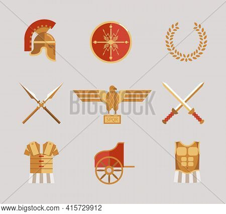 Set Of Ancient Warrior Vector Accessories With A Helmet  Spears  Swords  Wreath  Tunic  Breastplate