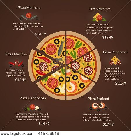 Round Pizza With Different Sort Slices And Ingredients In Flat Vector Style. Seafood And Margherita,