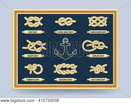 Nautical Rope Knots On The Board In  Frame. Bowline Knot And The Figure Eight. Vector Illustration