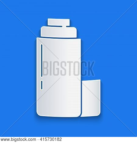 Paper Cut Thermos Container Icon Isolated On Blue Background. Thermo Flask Icon. Camping And Hiking