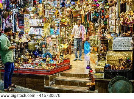 Muscat, Oman, December 3, 2016: One of the shops at Mutrah Souk - the largest market in Muscat Oman