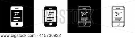 Set Hunting Shop With Rifle And Gun Weapon In Mobile App Icon Isolated On Black And White Background