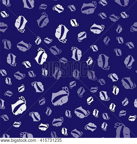 White Toothache Icon Isolated Seamless Pattern On Blue Background. Vector