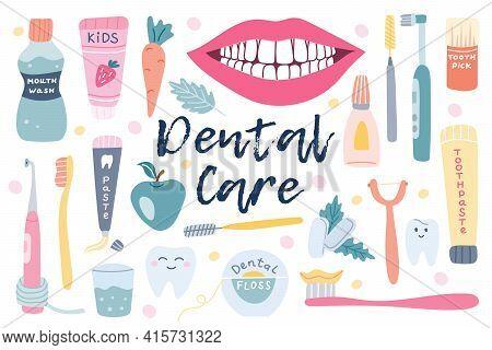 Big Set Of Dental Care, Oral Hygiene. Dental Floss, Chewing Gum, Paste, Snow-white Smile, Apple. Han