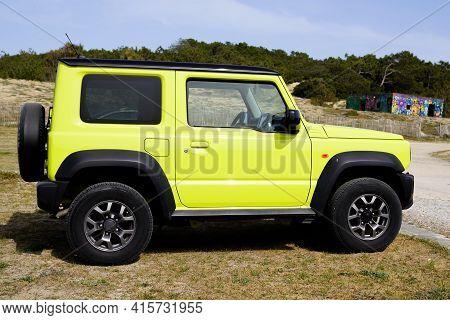 Bordeaux , Aquitaine France - 03 29 2021 : Suzuki Jimny Car Side View Modern 4x4 Suv Japan Vehicle O