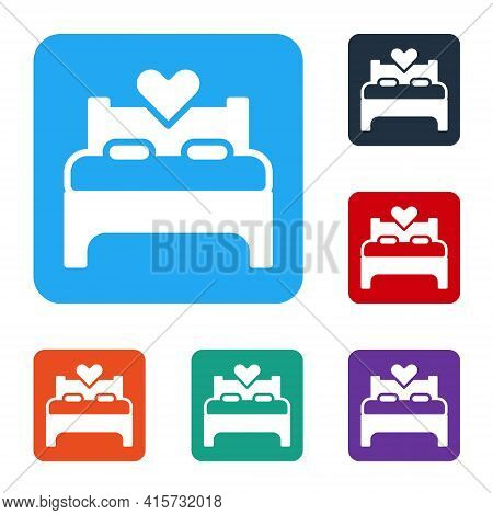 White Bedroom Icon Isolated On White Background. Wedding, Love, Marriage Symbol. Bedroom Creative Ic