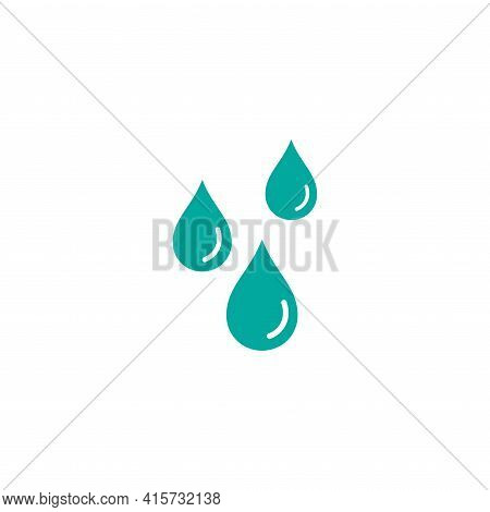 Blue Water Drops, Drip Or Droplet. Watering Pictogram. Oil, Essence, Sanitizer Gel Icon Isolated On
