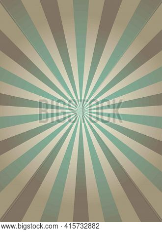Sunlight Narrow Retro Faded Grunge Background. Dirty Grey And Green Color Burst Background. Vector I