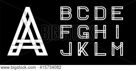 Set One. Decorative Font, Alphabet Created From Intertwined White Stripes With Shadows On A Black Ba