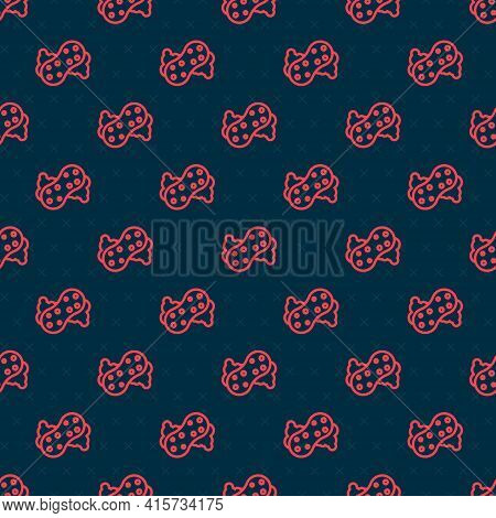 Red Line Sponge With Bubbles Icon Isolated Seamless Pattern On Black Background. Wisp Of Bast For Wa