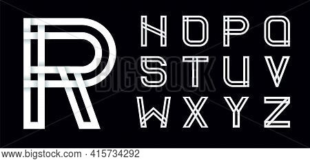 Set Two. Decorative Font, Alphabet Created From Intertwined White Stripes With Shadows On A Black Ba