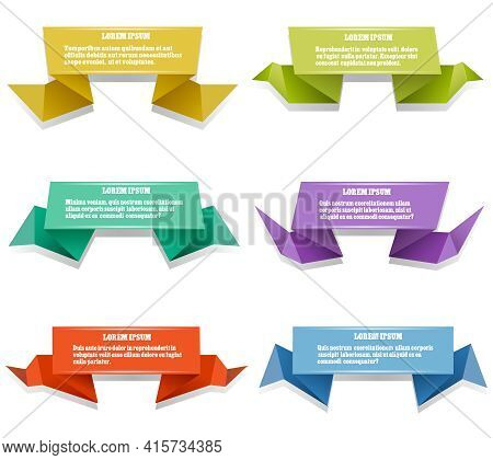 Paper Origami Banners. Set Of Colorful Origami With Space For Test. Vector Illustration