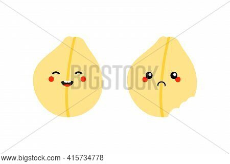 Couple Of Cartoon Style Chickpeas, Chick Pea Seeds Characters Cute And Smiling And Sad With Bite Mar