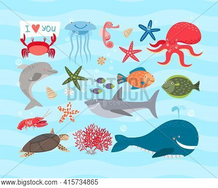 Vector Set Of Cute Sea Animals. Dolphin And Octopus And Turtle, Jellyfish And Sea Horse, Shark And C