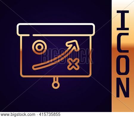 Gold Line Planning Strategy Concept Icon Isolated On Black Background. Cup Formation And Tactic. Vec