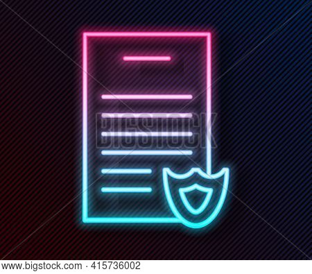 Glowing Neon Line Firearms License Certificate Icon Isolated On Black Background. Weapon Permit. Vec