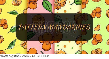Seamless Background With Tangerines. Vector Illustration For Your Design.pattern For Printing.