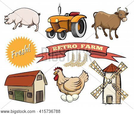 Set Of Retro Farm Colored Vector Icons Depicting A Pig  Tractor   Cow  Barn  Laying Hen  Windmill Or