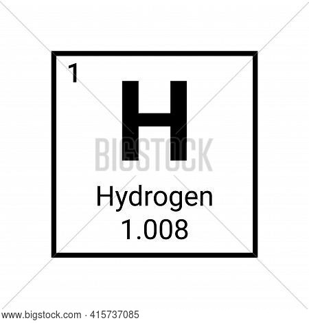 Hydrogen Periodic Table Element. Hydrogen Symbol Chemical Sign