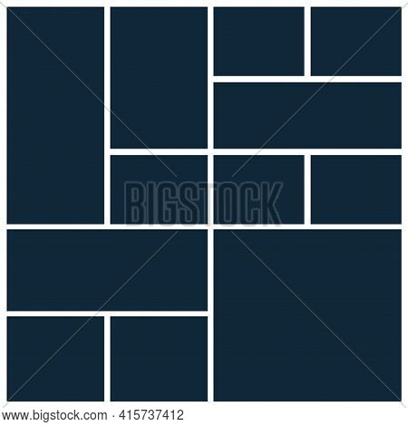 Photo Collage Mosaic Grid Template Board Picture Frame. Border Collage Photo Layout Background