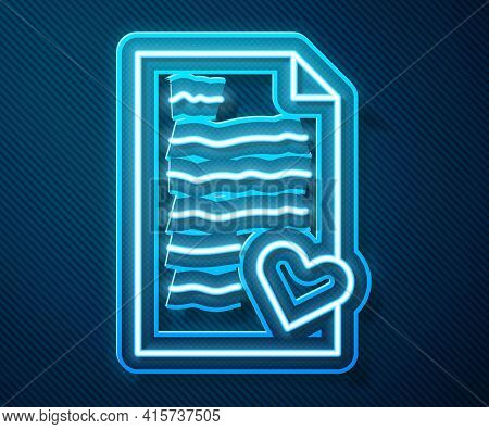 Glowing Neon Line Envelope With Valentine Heart Icon Isolated On Blue Background. Message Love. Lett