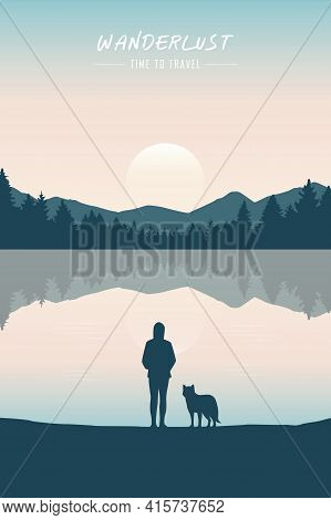 Wanderlust Girl And Dog By The Lake In Green Nature
