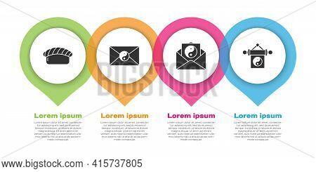 Set Sushi, Yin Yang And Envelope, Yin Yang And Envelope And Yin Yang. Business Infographic Template.