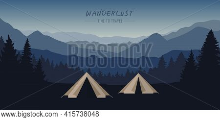 Wanderlust Camping Adventure Tent At Blue Mountain And Forest Landscape