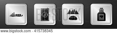 Set Oil Tanker Ship, Bio Fuel Barrel, Oilfield And Oil Petrol Test Tube Icon. Silver Square Button.