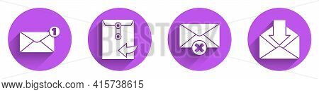 Set Envelope, Envelope, Delete Envelope And Envelope Icon With Long Shadow. Vector