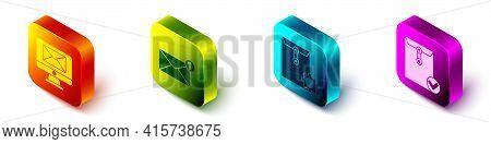 Set Isometric Monitor And Envelope, Envelope, Envelope Setting And Envelope And Check Mark Icon. Vec