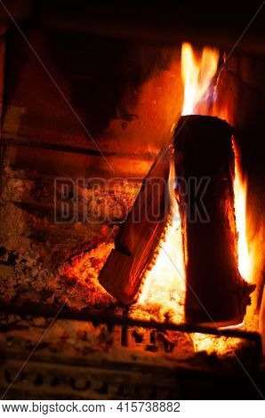 Fireplace Burning Wood Logs, Cozy Warm Home Time