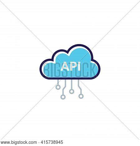 Api Cloud Integration Icon Data Process. Flat Vector Web Api Cloud System Pictogram