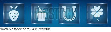 Set Casino Slot Machine With Strawberry, Champagne In An Ice Bucket, Horseshoe And Casino Slot Machi